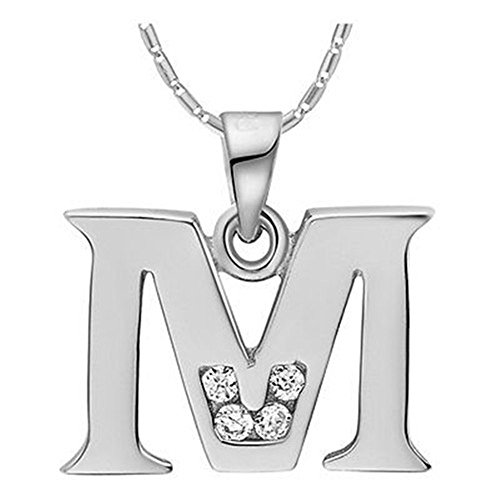 NYKKOLA Fashion Jewellery 925 Silver Clear Crystal Initial Letter M Alphabet Charm Necklace