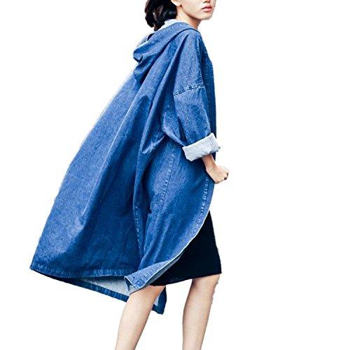 Capuche Manteau Mode Oversize en Boyfriend Denim Trench Hiver Jean Vestes Jacket Coat Gilet Automne 2 Femme Blouson Jean Outwear Parka Longue Blouson DJS Cardigans qwvt1T