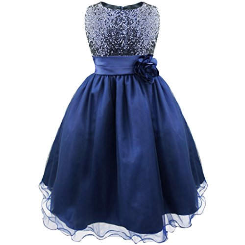 Freebily Junior Girls Sequined Flower Tea Length Formal Dresses Wedding Pageant Prom Ball Dress Navy Blue 12 - Tea Length Sequined Dress
