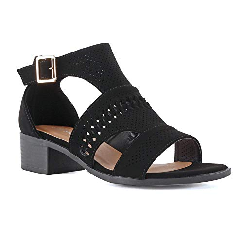 LUSTHAVE Women's Open Toe Strappy Buckle Platform Wooden Finish Heel Sandals Soft Cushioned Cut Out Shoes Black 7