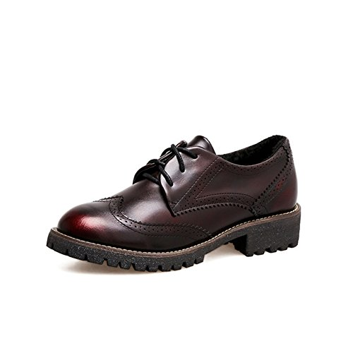 Oxfords Burgundy Shoes (T-JULY Women's Perforated Oxfords Shoes - Comfy Wingtip Lace-up Low Heel Comfort Shoes Burgundy)