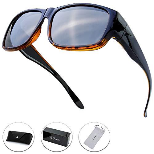 The Fresh High Definition Polarized Wrap Around Shield Sunglasses for Prescription Glasses 66mm Gift Box (405-Shiny Black/Demi, ()