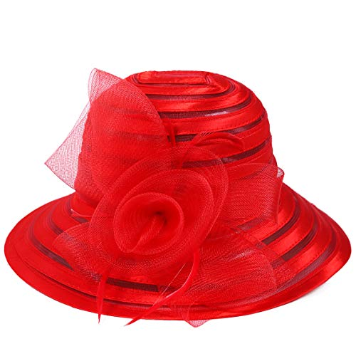 HISSHE Sweet Cute Cloche Oaks Church Dress Bowler Derby Wedding Hat Party S606-A (Floral Red)