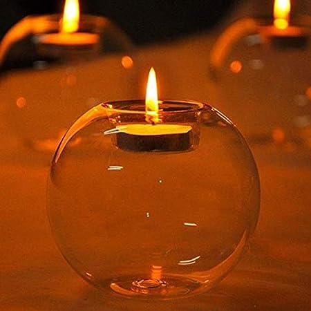 Candelabro Di Vetro Resistente Al Calore Come Decorazione Per Proposta Di Matrimonio O Nozze 4Pcs//set Candeliere Rotondo Di Cristallo Decorazione Per La Cena a Lume Di Candela