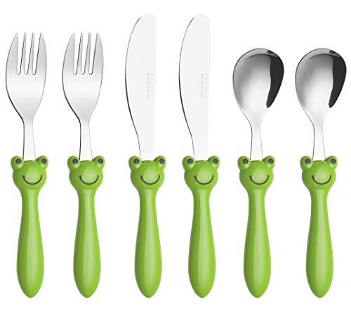Exzact Children's Flatware 6pcs Set - Stainless Steel Cutlery/Silverware - 2 x Forks, 2 x Safe Dinnerknife, 2 x Dinner Spoons - Frog ()