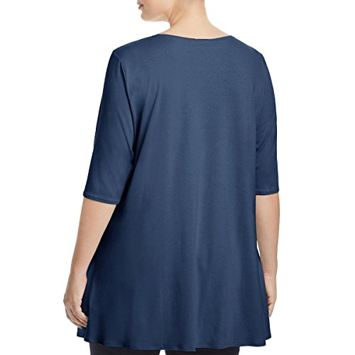 Eileen Fisher Womens Plus Elbow Sleeves Scoop Neck Tunic Top Blue 1X by Eileen Fisher (Image #1)