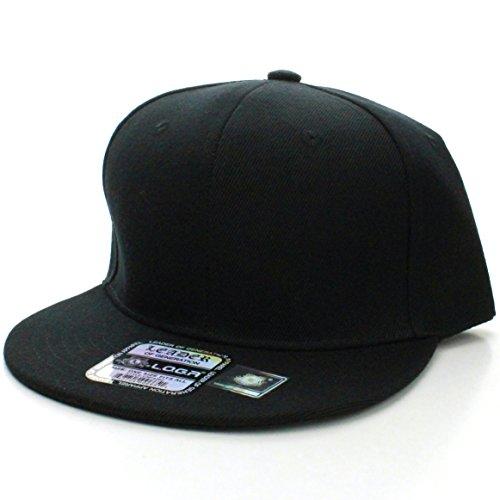 Baseball Snap (L.O.G.A Plain Flat Bill Visor Blank Snapback Hat Cap with Adjustable Snaps - Black)
