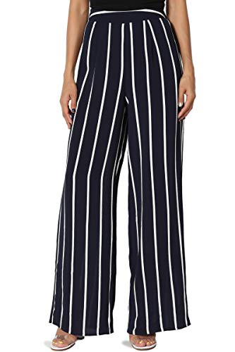 TheMogan Women's Striped Cool Woven Elastic Back High Waist Wide Pants Navy M