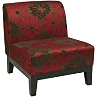 AVE SIX Glen Upholstered Armless Accent Chair with Solid Wood Base, Groovy Red