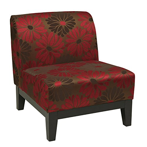 AVE SIX Glen Upholstered Armless Accent Chair with Solid Wood Base, Groovy (Office Star Quick Assembly)