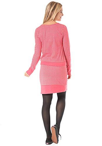 Ragwear Vestido Manga Larga Redondo Mujer Rayas Camisa Para Rosa dvxdAqr
