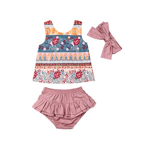 (Baby Girl Clothes Ethnic Bohemia Floral Printed Vest T-Shirt Tops + Ruffled Shorts Bloomers + Headband 3PCS Summer Infant Toddler Outfit Set (Pink,)