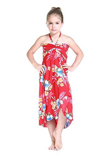 Girl Hawaiian Halter Dress in Hibiscus Red Size 2