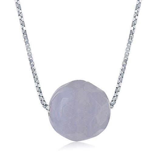 Blue Agate Quartz Necklace (Sterling Silver 8mm Faceted Bead Natural Quartz Blue Lace Agate 17+1