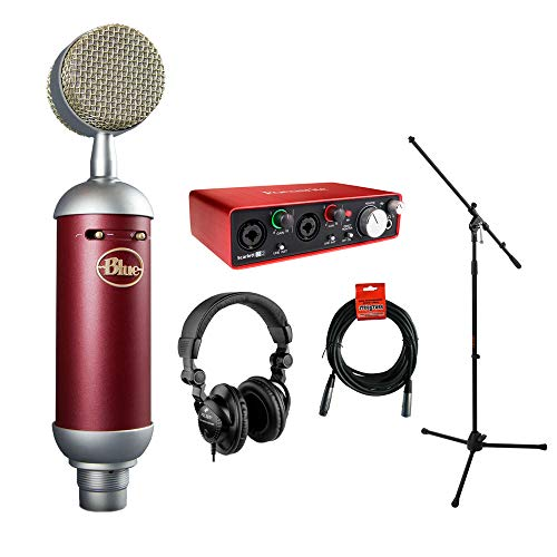 Blue Spark SL Large-Diaphragm Studio Condenser Microphone with Focusrite Scarlett 2i2 USB Audio Interface, HPC-A30 Monitor Headphone, Mic Stand & 20' XLR Cable Bundle