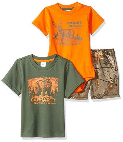 Carhartt Baby Boys 3-Piece Clothing Set, Real Tree Extra Short/Mouse Orange Bodysuit/Olive el - Olive El