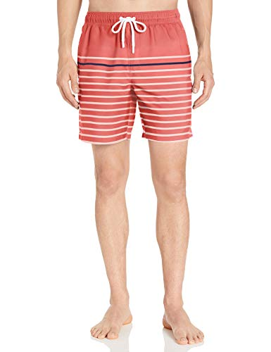 Amazon Essentials Herren Badehose 17,8 cm, Coral/Navy Small Stripe, Large