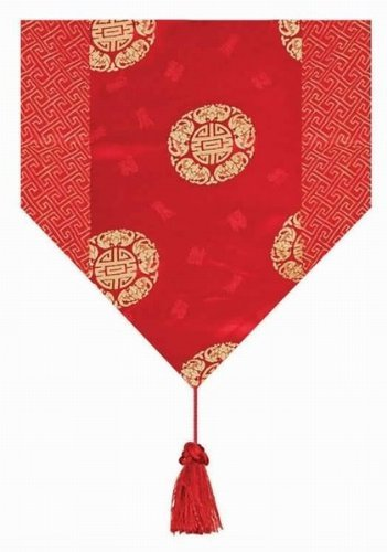 Asian Home Gorgeous Oriental Brocade Table Runner CHINESE FORTUNE SYMBOL (RED)