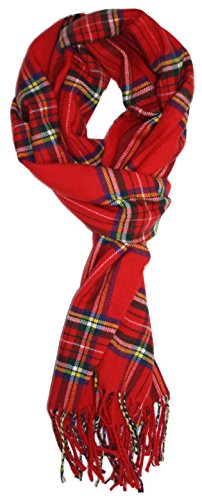 Ted and Jack - Ted's Classic Cashmere Feel Checkered or Plaid Scarf (Classic Red Plaid)