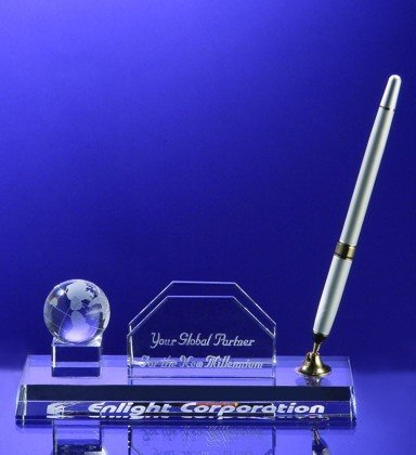 - Crystal Globe Ball Business Card and Pen Holder - Silver Pen.