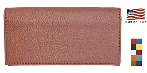 Cognac Genuine Colorado Leather Collection Checkbook Cover – American Factory Direct – Duplicate Check Divider – Made in USA Real Leather Creations - FBA1082