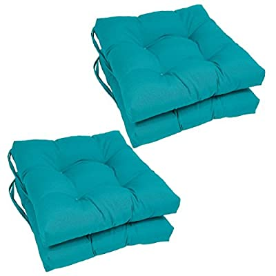 Blazing Needles Solid Twill Square Tufted Chair Cushions (Set of 4), 16