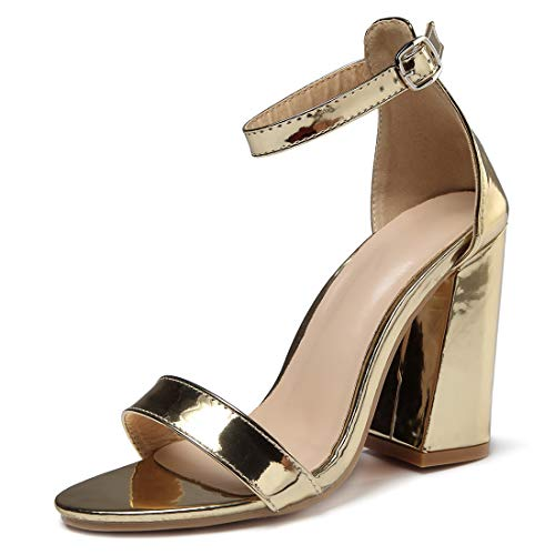 (Women's High Heel Sandals Ankle Strap Block Clear Chunky Heels Holidays Party Shoes - 6 Gold)