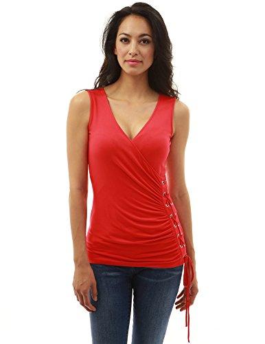 PattyBoutik Mujer Corsé del cuello de v acanalado Rojo