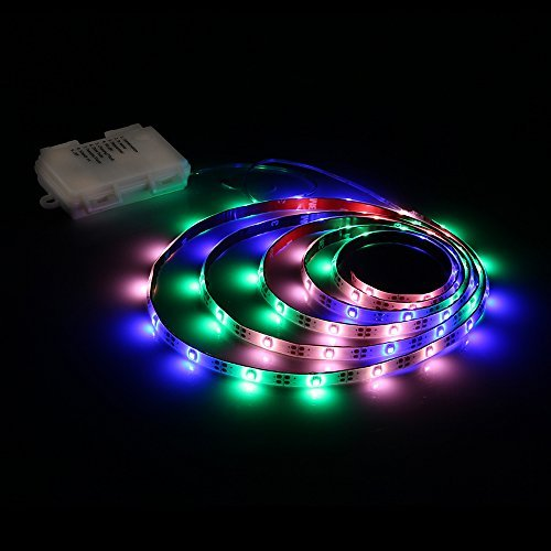 LED Strip Lights Battery Powered, Zanflare PGB 2M/6.56FT 8 Light Modes LED Light Strip with Remote, IP65 Waterproof, SMD 3528 60 LEDs DC 4.5V LED TV Light Christmas, New Year Decoration lights ()