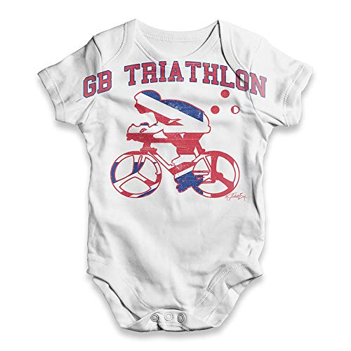 Twisted Envy Funny Infant Baby Bodysuit Romper GB Triathlon White 3 - 6 Months (Gb Triathlon)