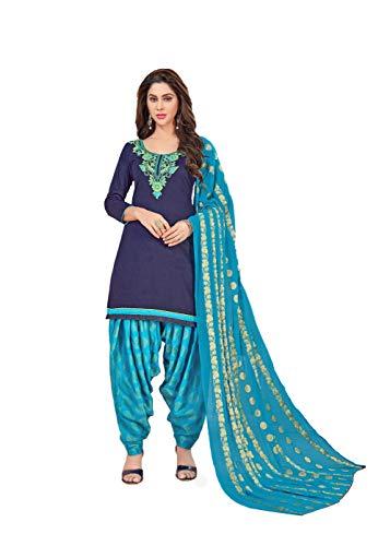 Anni Designer Women's Blue Color Glace Cotton Thread Embroidered Banarasi Jacquard Dupatta Punjabi Dress Material(Suhagan 5006_Blue_Free Size)