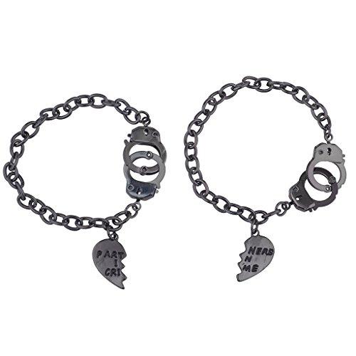 Lux Accessories HematiteTone Partners in Crime BFF Best Friends Bracelet Set 2PC