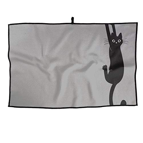 HenSLK Black Cat Holding On Soft Waffle Towel Microfiber Cooling Golf Towel for Travel,Sports, Workout, Fitness, Gym, Yoga, Pilates, Travel, Camping