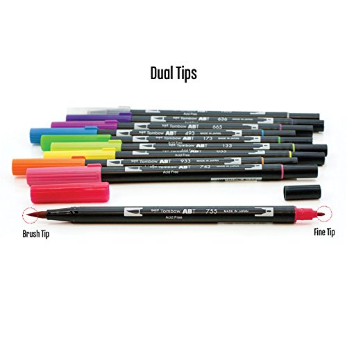 Tombow dual brush pen art markers bright pack