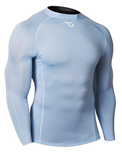 Football Long Sleeve Tee - Defender Men's Long Sleeve T-Shirt Cool Dry Tights Baselayer Soccer SK_M