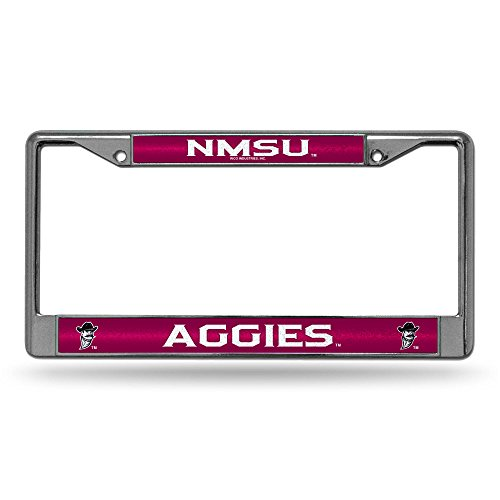 NCAA New Mexico State Aggies Bling Chrome License Plate Frame with Glitter Accent