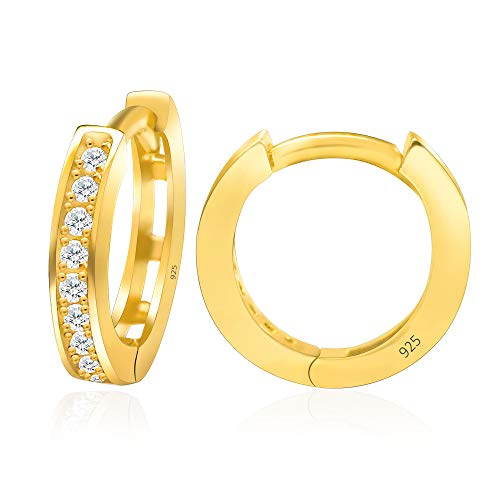14k Yellow Gold Plated 925 Sterling Silver Cubic Zirconia Cuff Earring Huggie Stud Hoop Cartilage - Small -