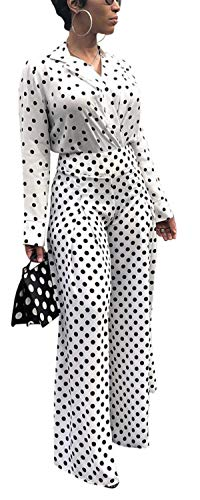 Women's Spring Autumn Two Pieces Outfit Polka Dot Printed Peter Pan Collar Blazer Coat + Wide Leg Pants Trousers Slacks Party Club OL Dress White S