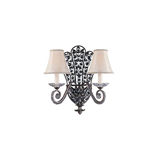 Lumenno Lighting 1004-00-02 Wall Sconce with Crystal Accents Shades, Bronze Finish