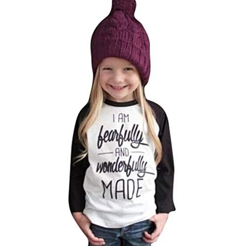 Baby Kids Girls Letters Printed Long Sleeve T-shirts Tops Clothes - 6