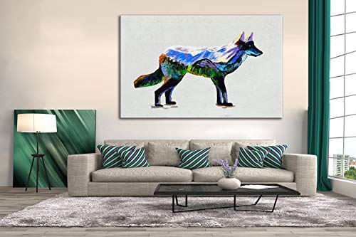 AMEMNY Canvas Paintings Wall Art Rustic Snow Mountain Wolf Landscape for Living Room Bedroom Home Decor Poster Print