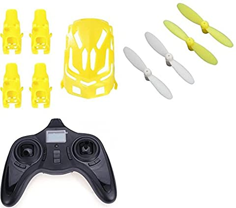 Hubsan Nano Q4 H111 [QTY: 1] Transmitter Controller Quadcopter TX [QTY: 1] Nano Body Shell H111-01 Yellow Frame w/ Motor supports [QTY: 1] Propeller Blades & White Propellers Props Prop (5 Channel Slt Transmitter)