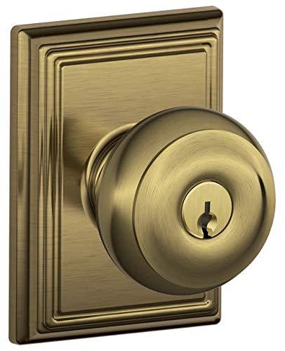 Schlage Lock Company F51AGEO609ADD Antique Brass Georgian Keyed Entry F51A Panic Proof Door Knob with Addison Rosette