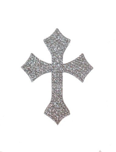 Crystal Heiress Cross/CHSC1  Rhinestone Sticker, Cross, 4 by 5-Inch, Silver