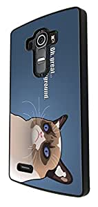 976 - Cool Fun Cat Face Oh Great I'm a Background Design For LG G4 Mini Fashion Trend CASE Back COVER Plastic&Thin Metal - Black