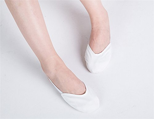 Women's Practice White Lyrical Sole Pads Dance Ballet Canvas Half Shoes pvrwFqp