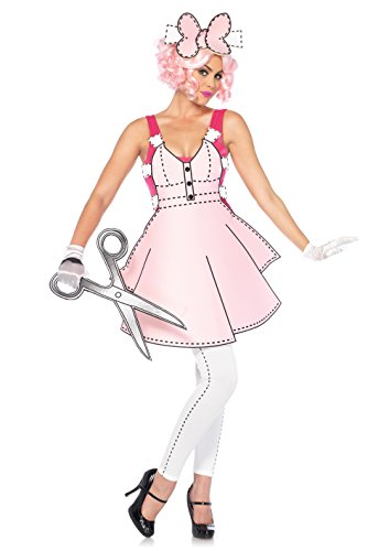 Leg Avenue Women's Pretty Paper Doll Halloween Costume, Pink/White -