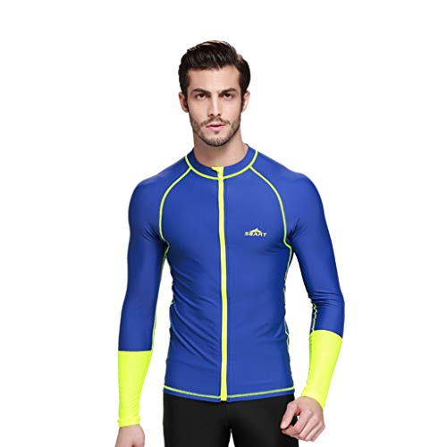 Allywit Men's Wetsuit Top Jacket, Neoprene Jacket Long Sleeve Front Zip Wetsuit Shirt for Diving Surfing Snorkeling Rafting Blue by Allywit (Image #3)