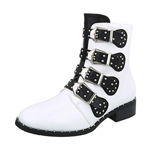 Ital-Design Women's Boots Block Heel Cowboy & Biker Ankle Boots at White H9DSSoq3H