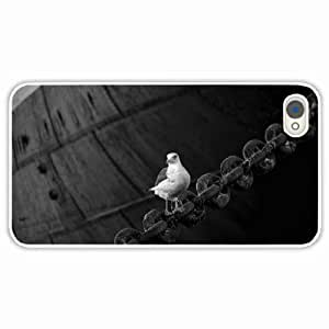 iPhone 4 4S Black Hardshell Case sitting chain White Desin Images Protector Back Cover